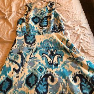 Multi colored blue tank dress
